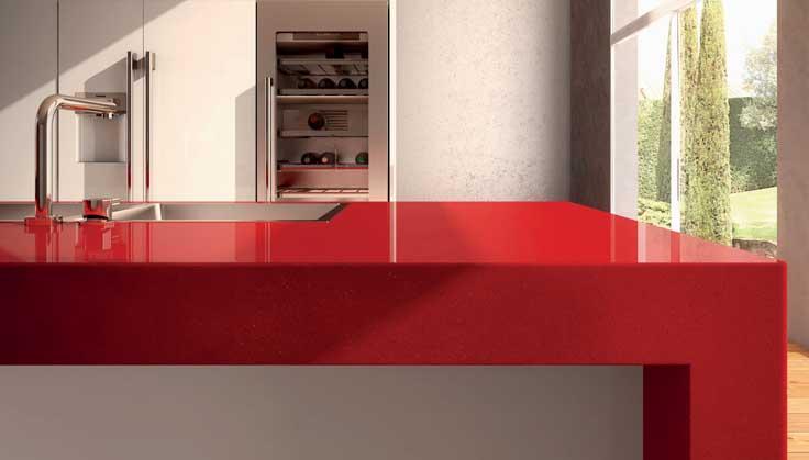 Bancada de cozinha vermelha - Superfície de quartzo