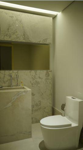 Banheiro Lotus PR luz apagada - Tecnologia Pietra Fina