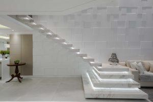 Escada em mármore branco paraná - Revista Place