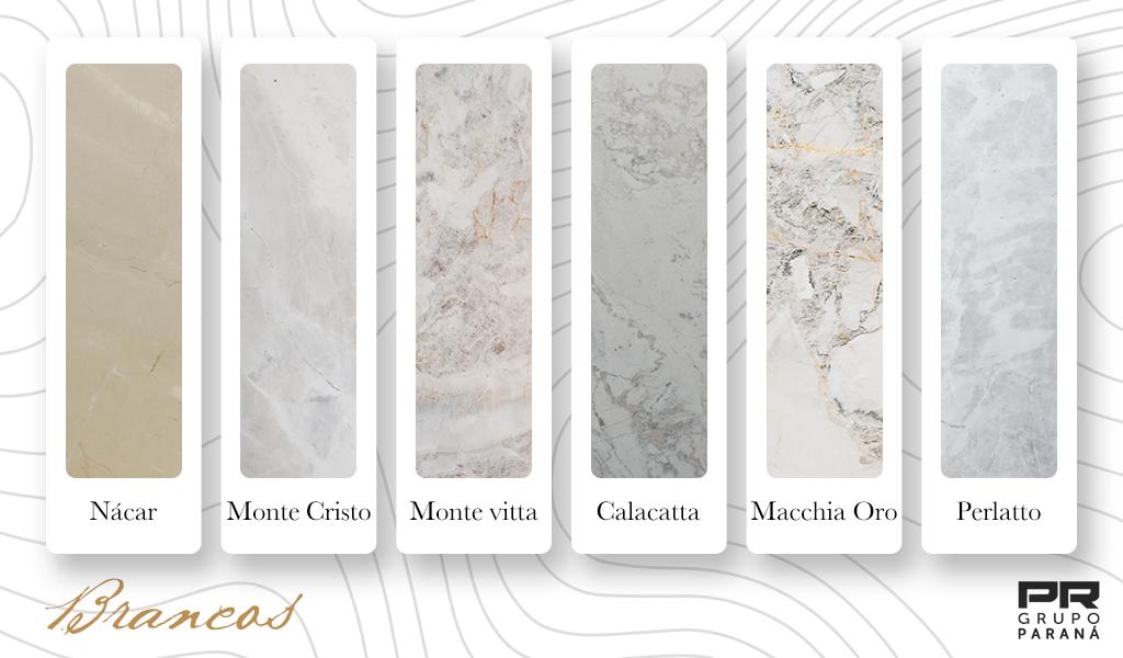 cores de mármore brancos